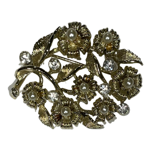 VINTAGE GOLD FLOWERS BROOCH