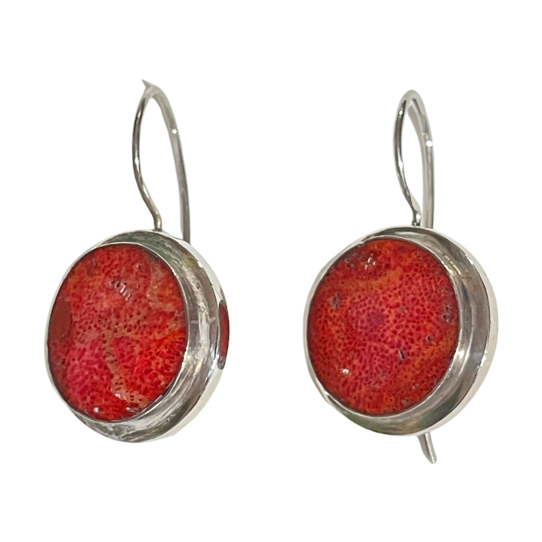 VINTAGE CORAL SILVER EARRINGS
