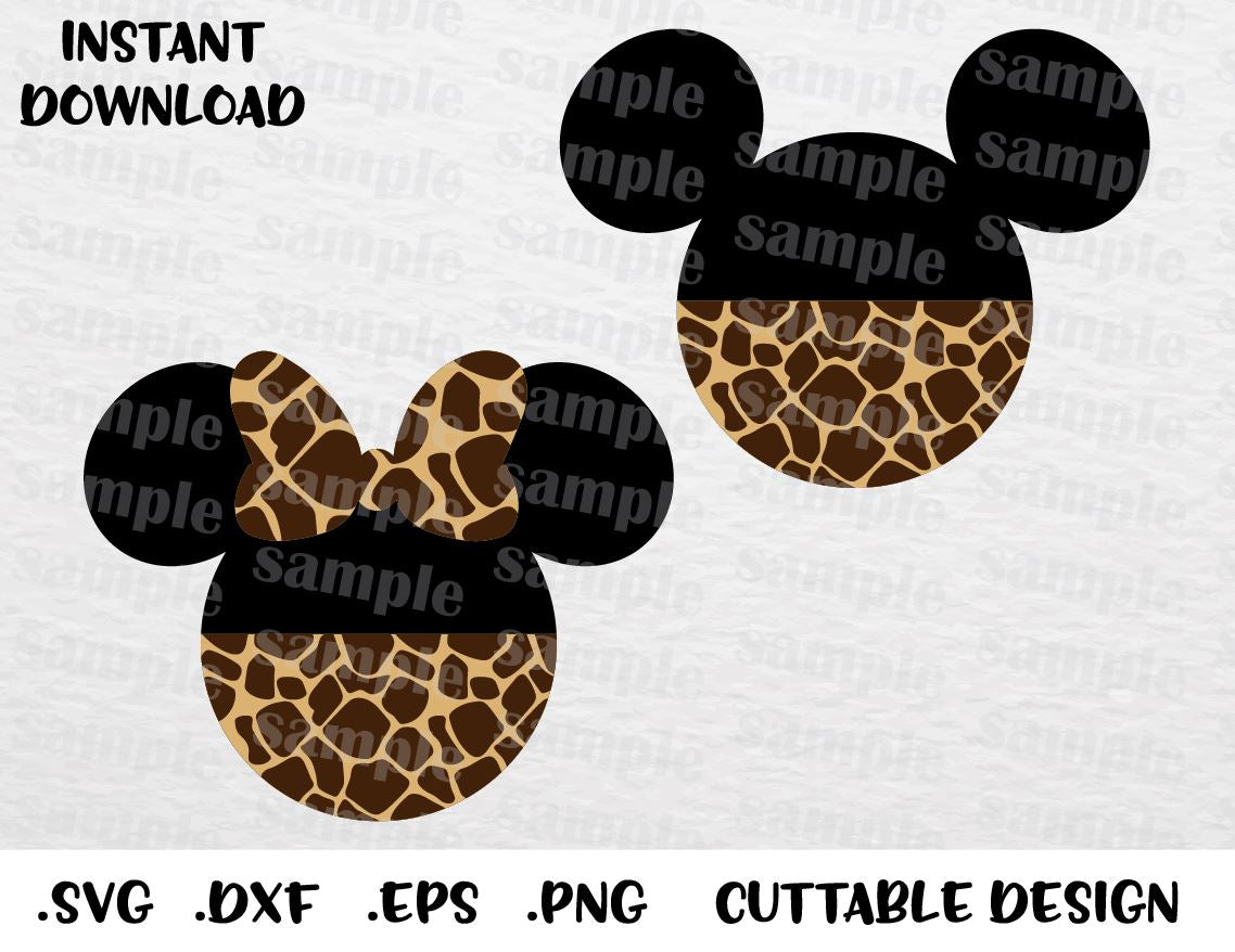 Animal Kingdom Mickey and Minnie Mouse Ears, Disney Inspired Cutting File  in SVG, ESP, DXF, PNG Formats