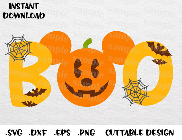 Halloween Quotes Svg.Boo Mickey Mouse Ears Quote Disney Halloween Inspired Cutting File In Svg Esp Dxf Png Formats