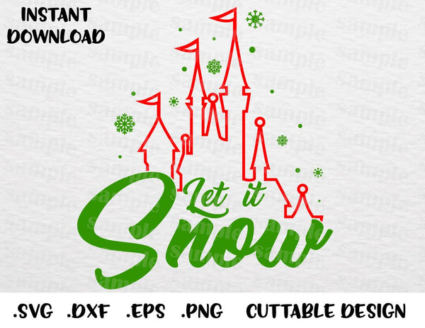 Christmas Quotes Svg.Christmas Castle Quote Let It Snow Inspired Cutting File In Svg Esp Dxf Png Formats