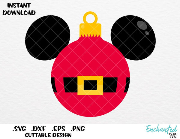 Christmas Mickey Ears Ornaments Inspired Cutting File In Svg Eps Dxf Enchantedsvg