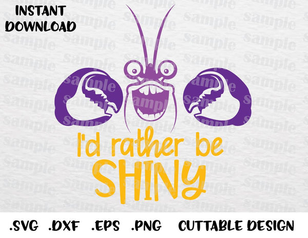 Tamatoa, I'd Rather Be Shiny, Moana Disney Inspired Cutting File in SVG,  ESP, DXF, PNG Formats
