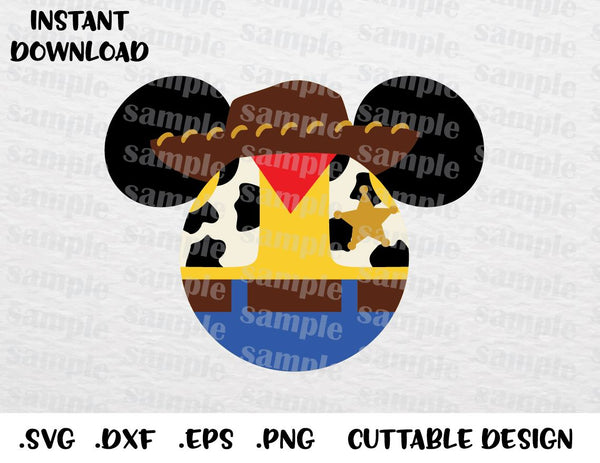 Woody Mickey Ears, Toy Story Disney Inspired Cutting File in SVG, ESP, DXF,  PNG Formats