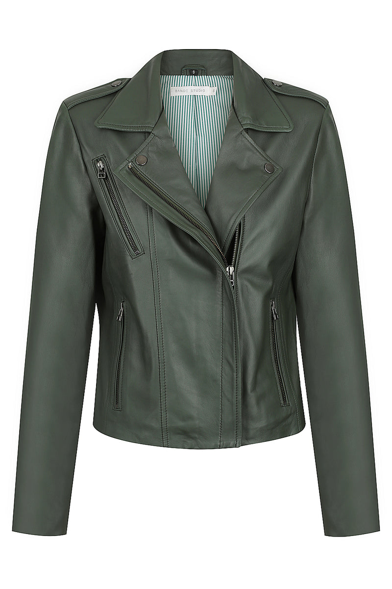 Bande Leather Biker Jacket Khaki