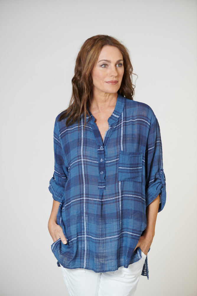 Italian Star Check Shirt Blue