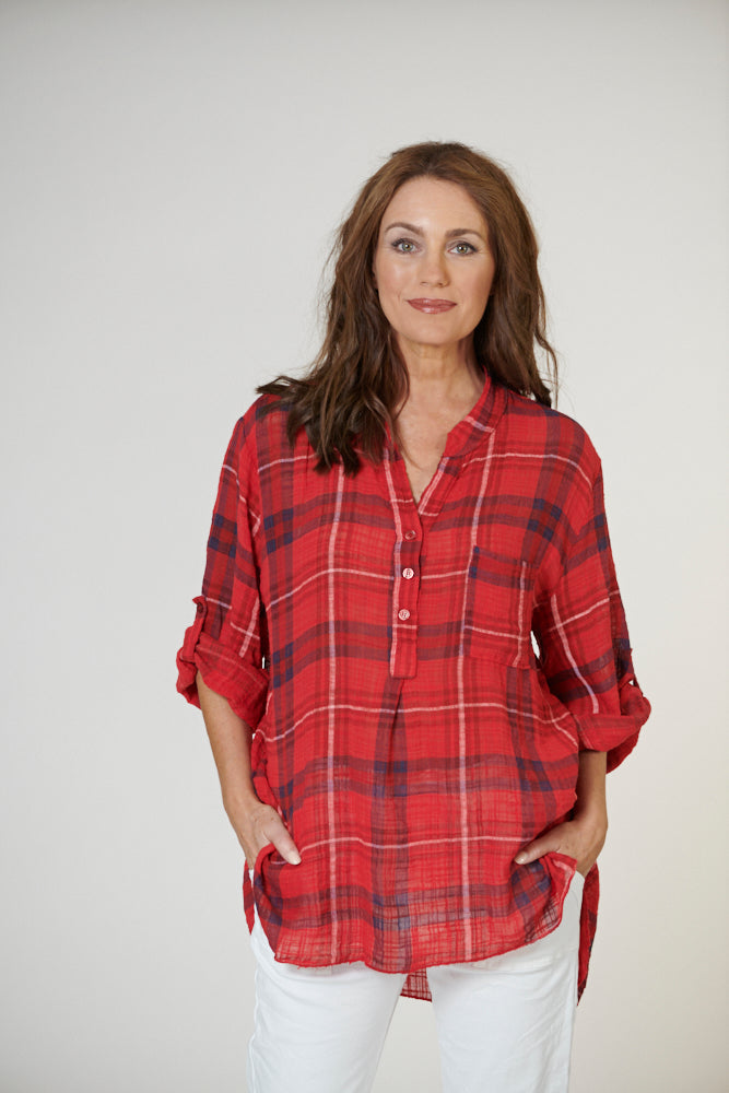 Italian Star Check Shirt Red