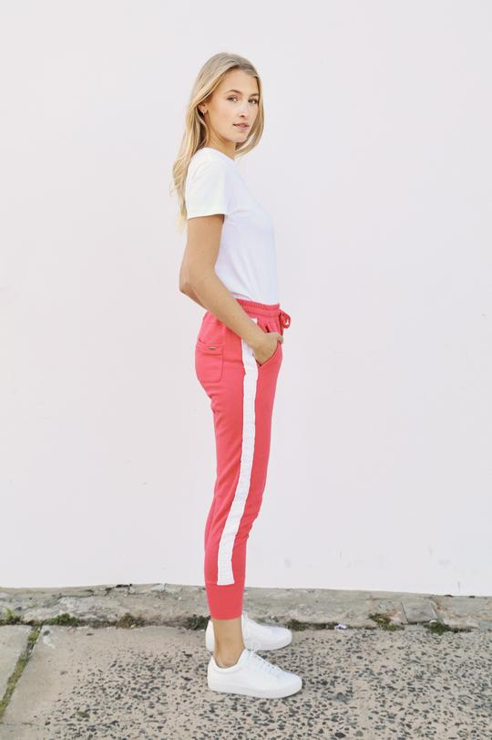 Est 1971 Contrast Frayed Stripe Cotton Tracky Pant Portsea Red and White