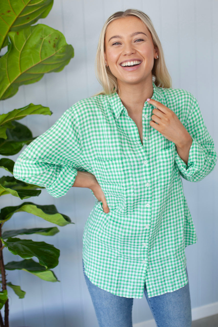 Hut Clothing Linen Shirt Kiwi Gingham