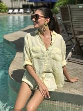 Hut Clothing Linen Boyfriend Shirt Lemon Chambray