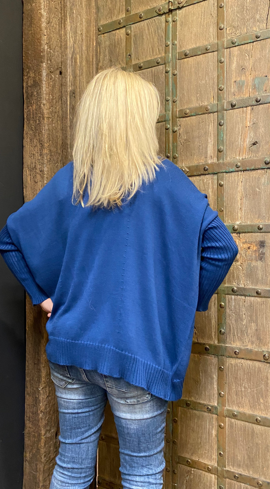 The Knit Studio Organic Cotton Boxy Crop Blue