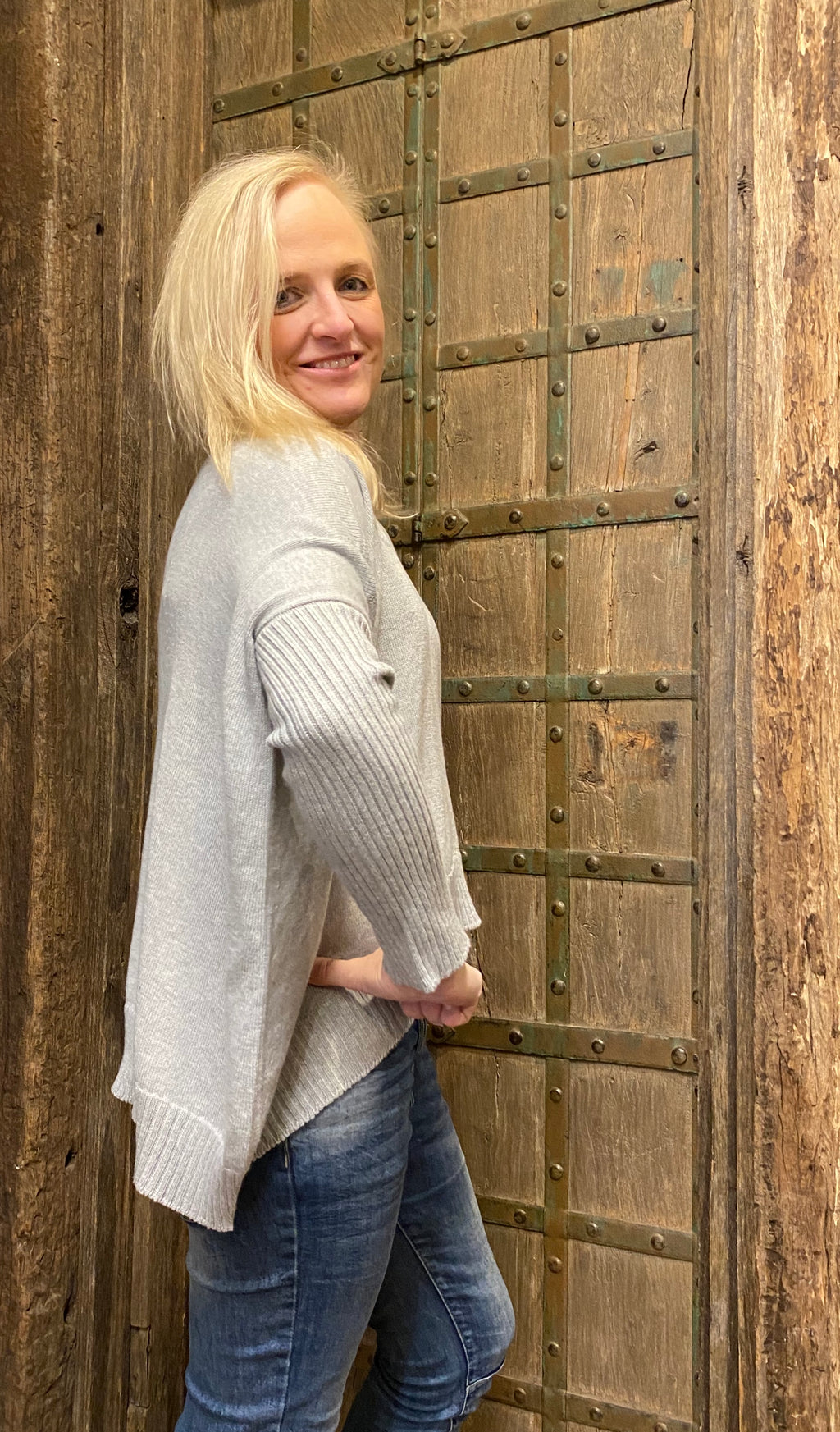 The Knit Studio Organic Cotton Boxy Crop Light Grey
