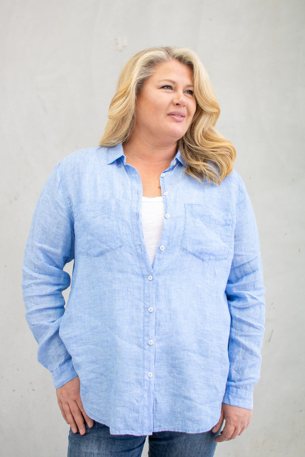 Hut Clothing Linen Boyfriend Shirt Chambray