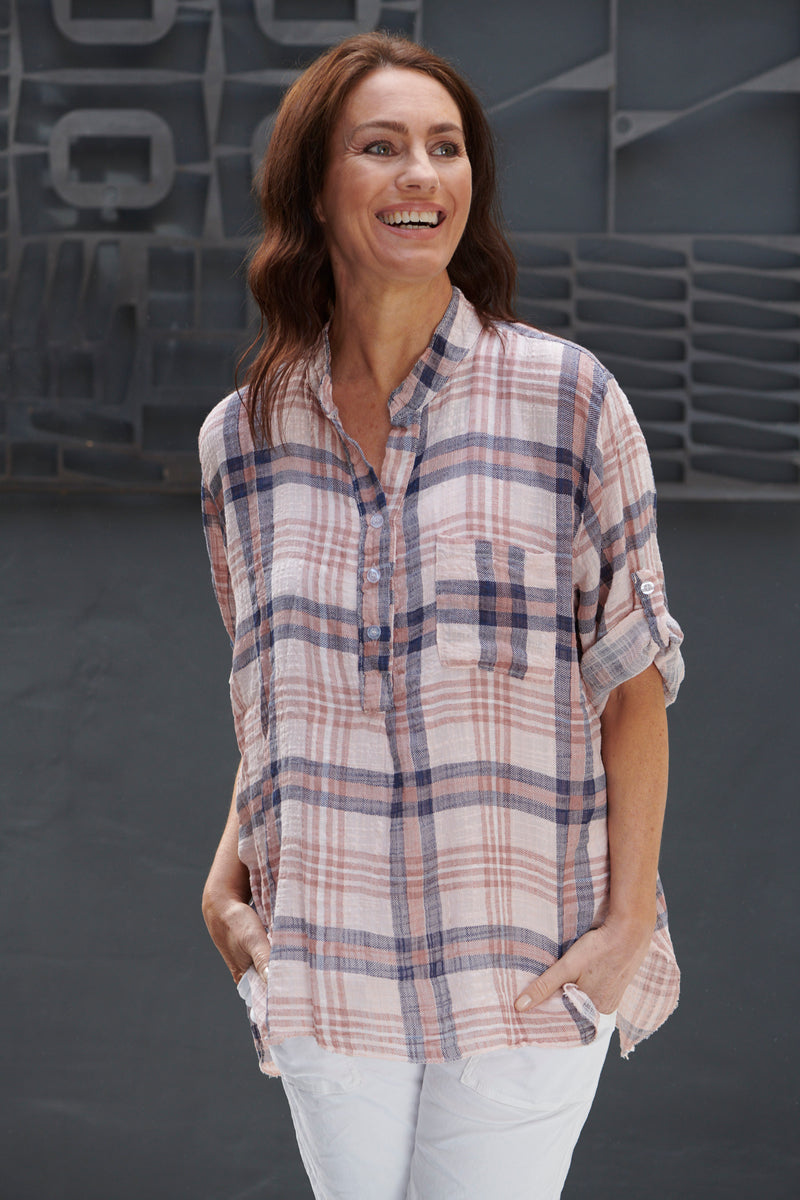 Italian Star Pink Check Shirt