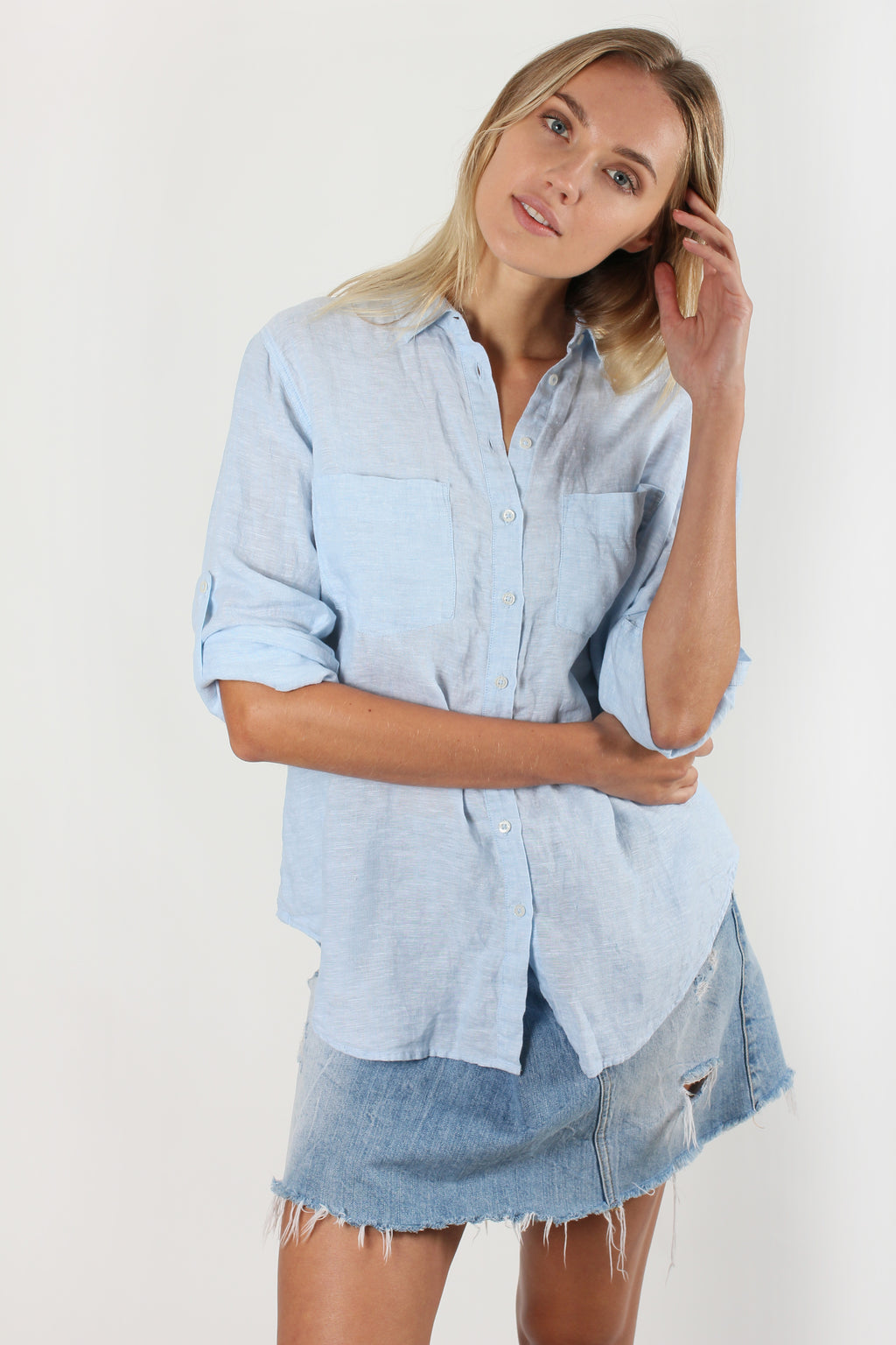 Hut Clothing Boyfriend Linen Shirt Ice Blue