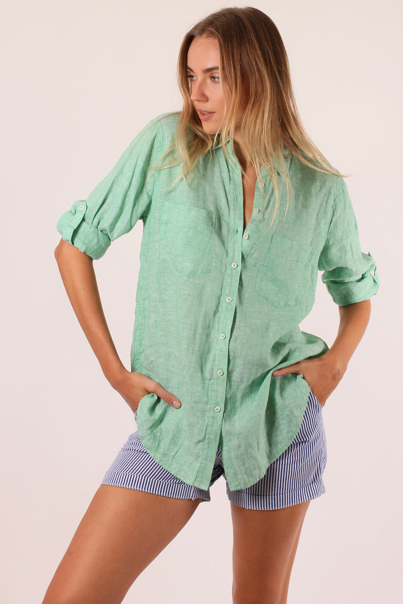 Hut Clothing Boyfriend Linen Shirt Kiwi Chambray