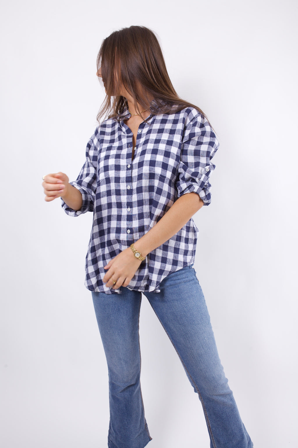 Hut Clothing Linen Boyfriend Shirt Navy Check