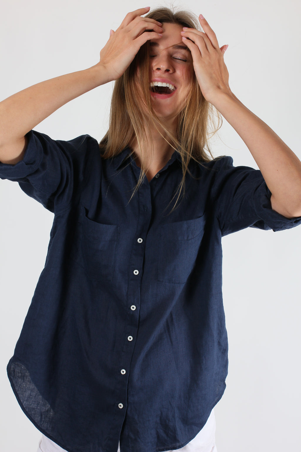 Hut Clothing Boyfriend Linen Shirt Navy