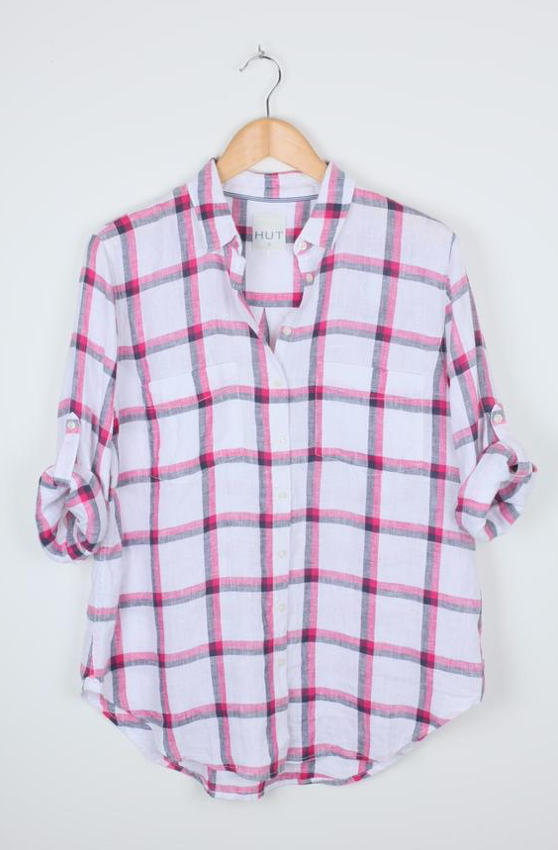 Hut Clothing Linen Boyfriend Shirt Pink Navy Check
