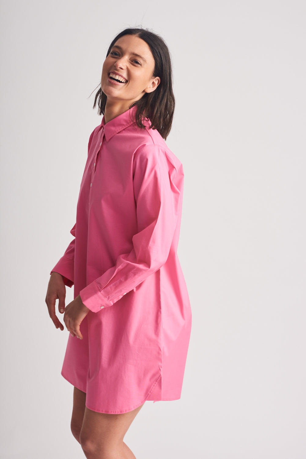 Shirty Shirt Dress Hot Pink