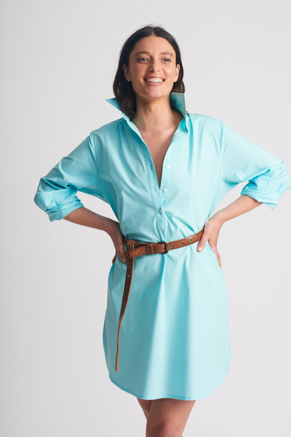 Shirty Shirt Dress Aqua