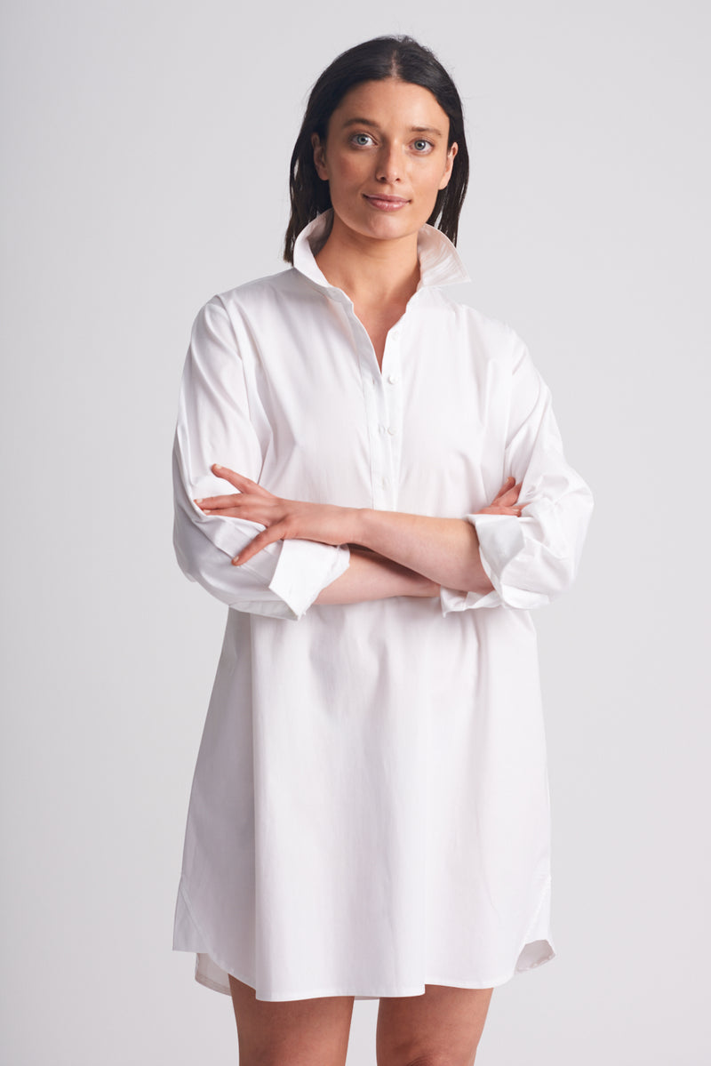 Shirty Shirt Dress White