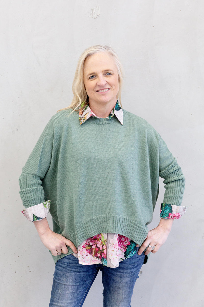 The Knit Studio Merino Boxy Crop Teal