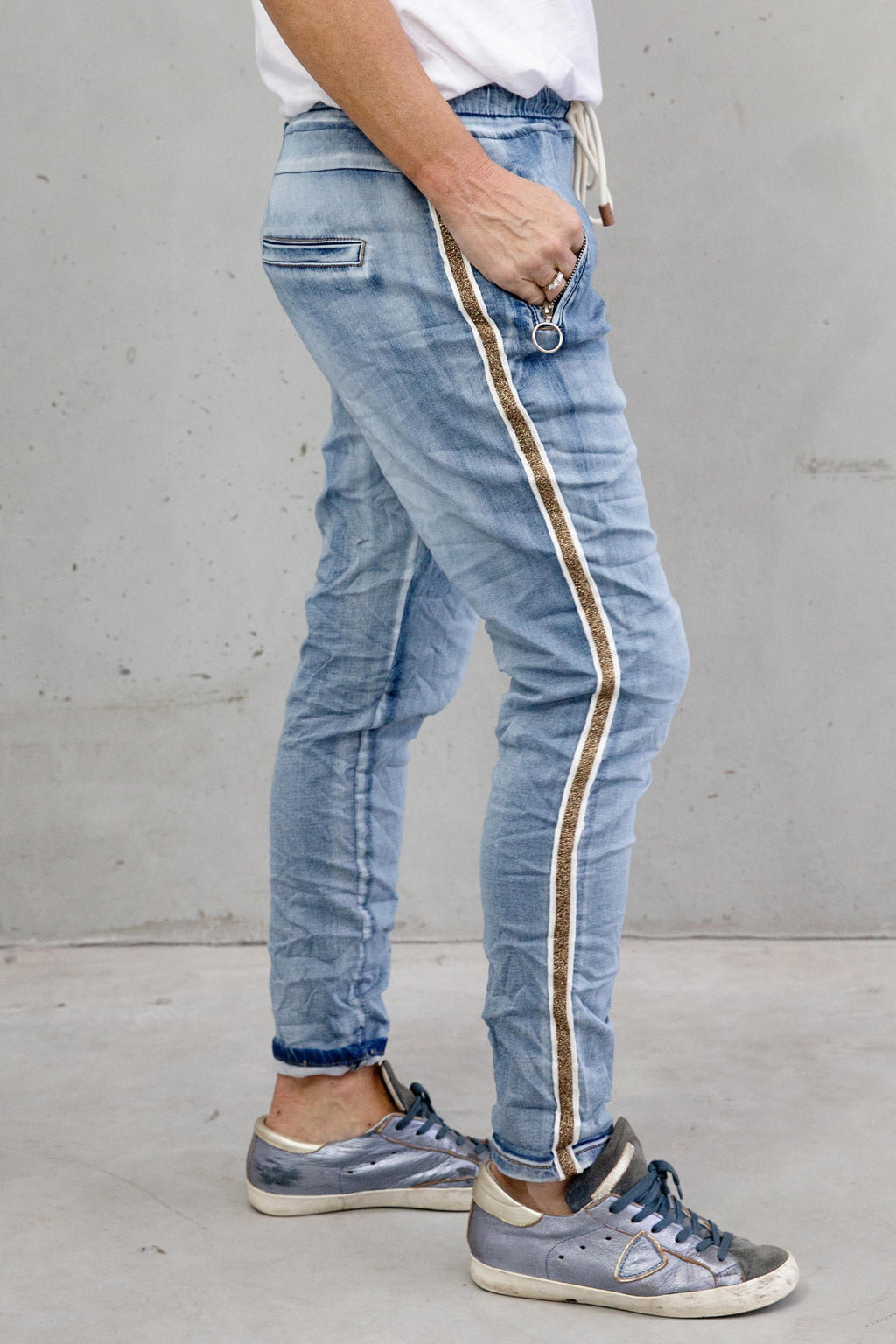 Italian Star Denim Jogger Gold Trim