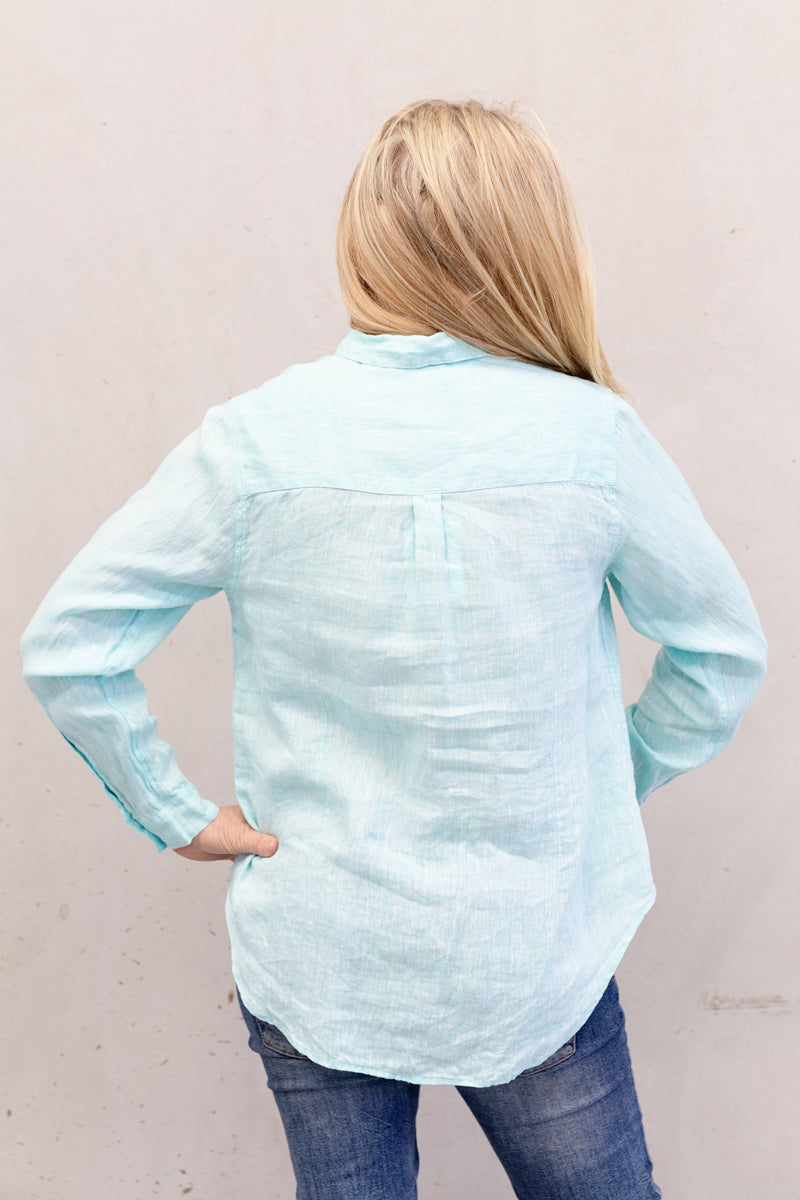 Hut Clothing Linen Boyfriend Shirt Mint Chambray