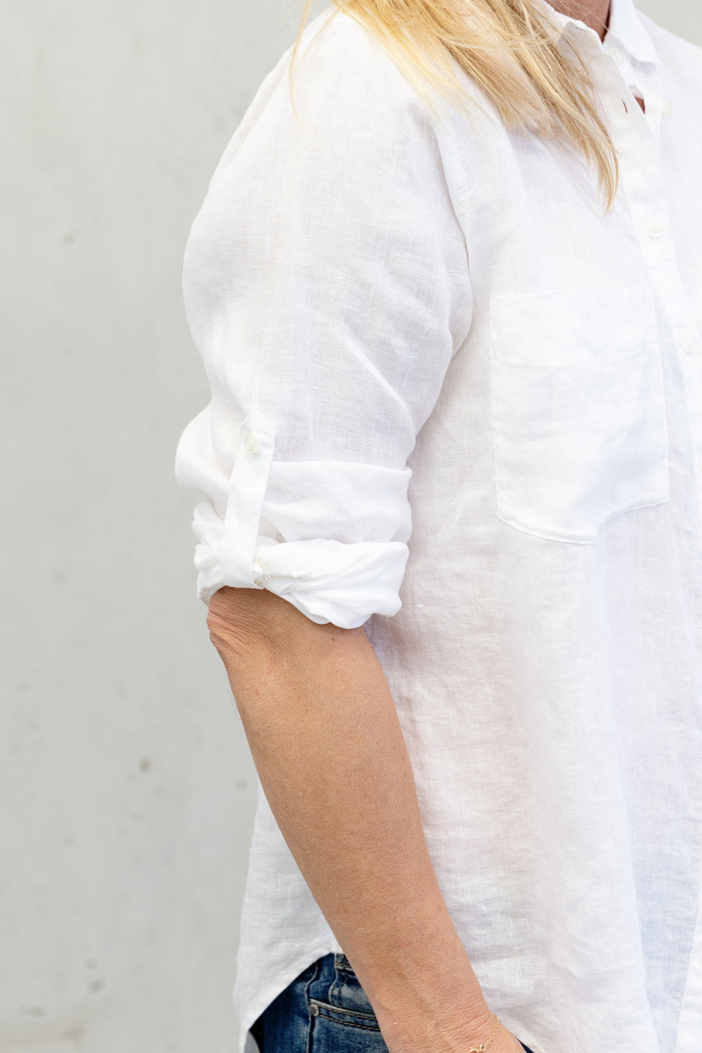 Hut Clothing Linen Boyfriend Shirt White