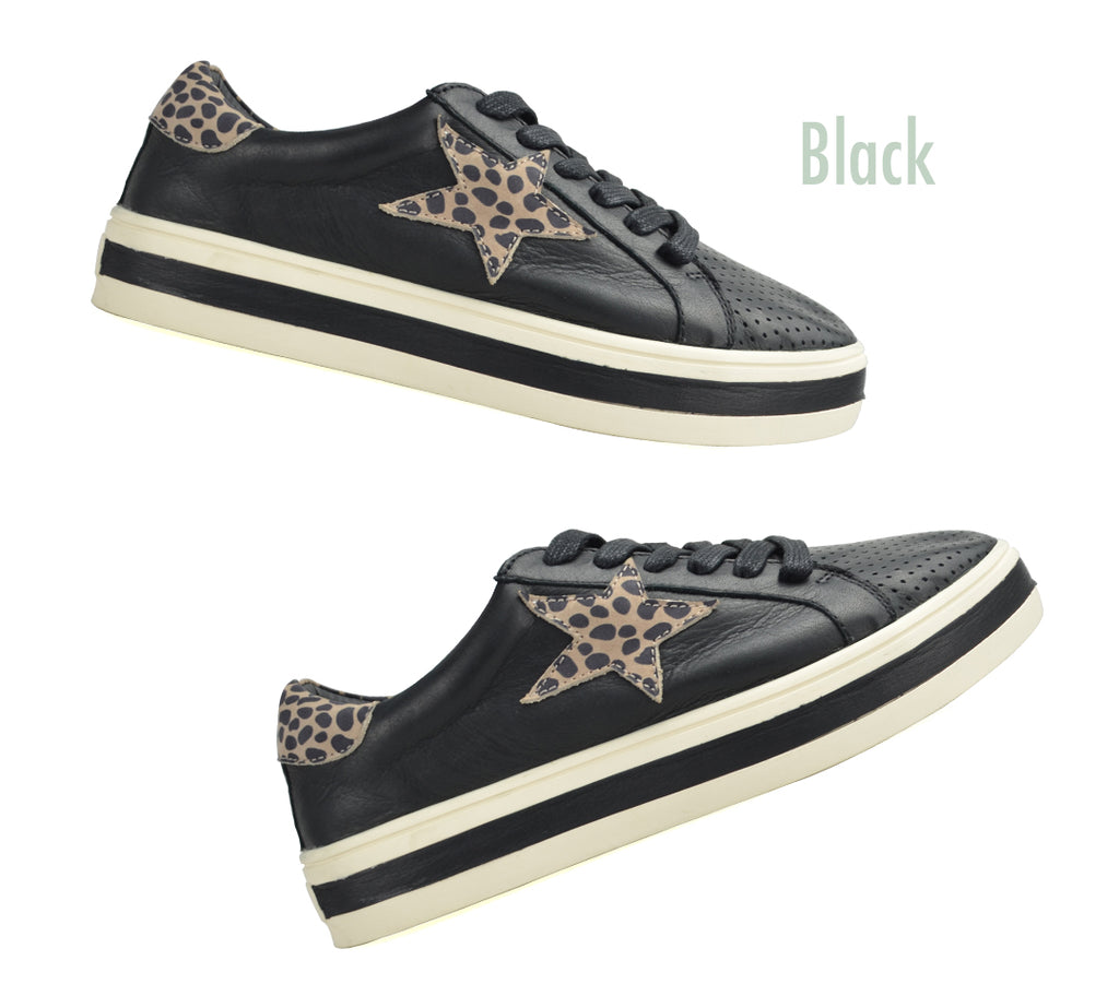 Alfie and Evie Pixie Sneaker Black with Animal Print Star