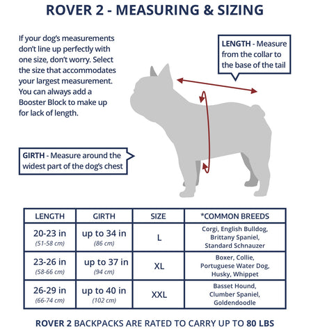 K9 Sport Sack Rover 2 Size Guide