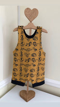 Load image into Gallery viewer, Mustard baby animals short romper only