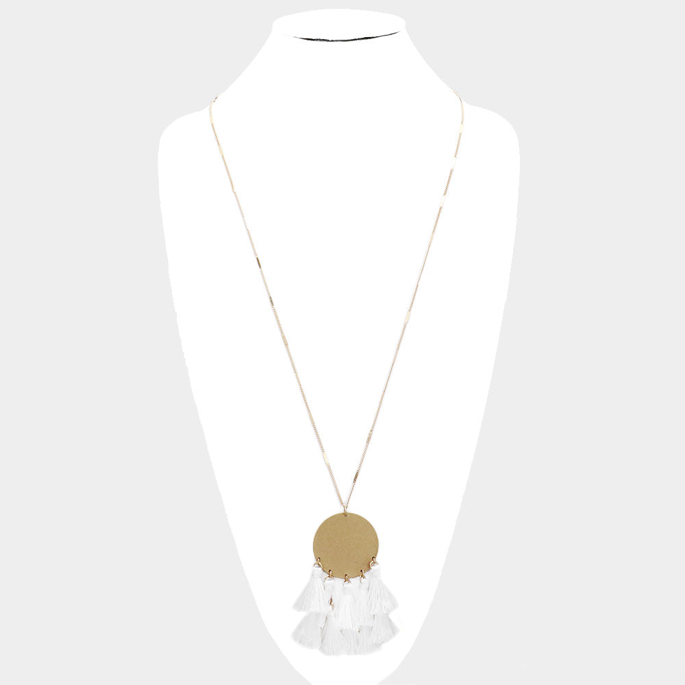 Necklace - White tassel