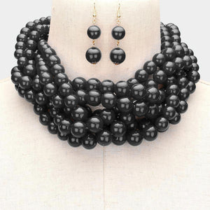 Necklace - Braided Pearl Black