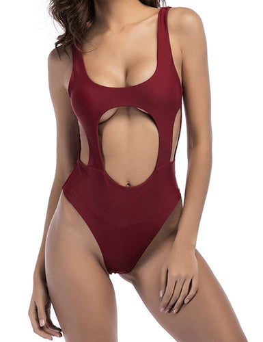 a88226ad155a2 Sexy Women's High Cut Backless Thong One Piece Swimsuit