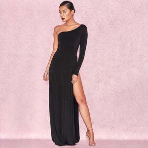 Sexy Women S Long Black One Shoulder High Slit Maxi Dress My
