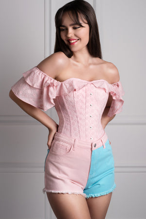 48ce43f6e85de2 Pink Cotton Embroidery Anglaise Corset Top Pink Cotton Embroidery Anglaise Corset  Top