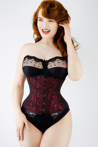 a125f40788 Red Brocade Underbust Corset With Hip Gores