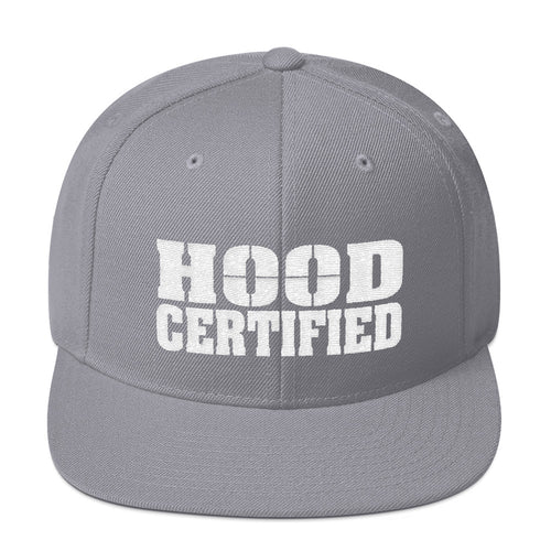 Hood Certified Snapback Hat (Gray with embroidered White Hood Certified Logo)