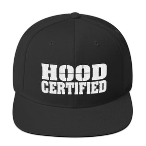Hood Certified Snapback Hat (Black with embroidered White Hood Certified Logo)