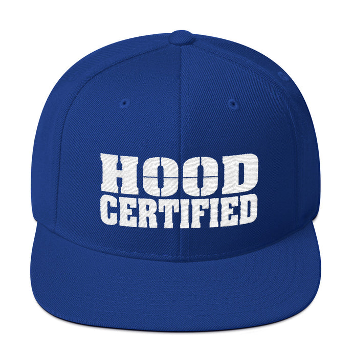 Hood Certified Snapback Hat (Blue with embroidered White Hood Certified Logo)
