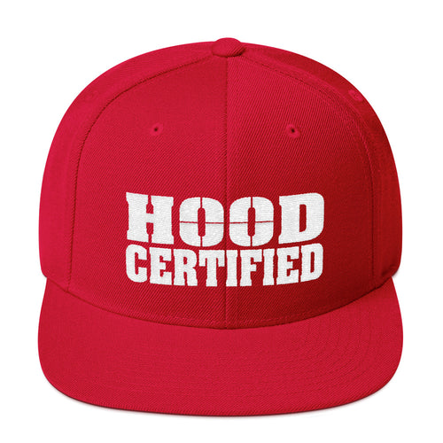 Hood Certified Snapback hat (Red with embroidered White Hood Certified Logo)