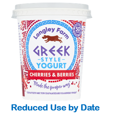 450g Greek style Cherries & Berries Yogurt - Use by Date 16/04/21