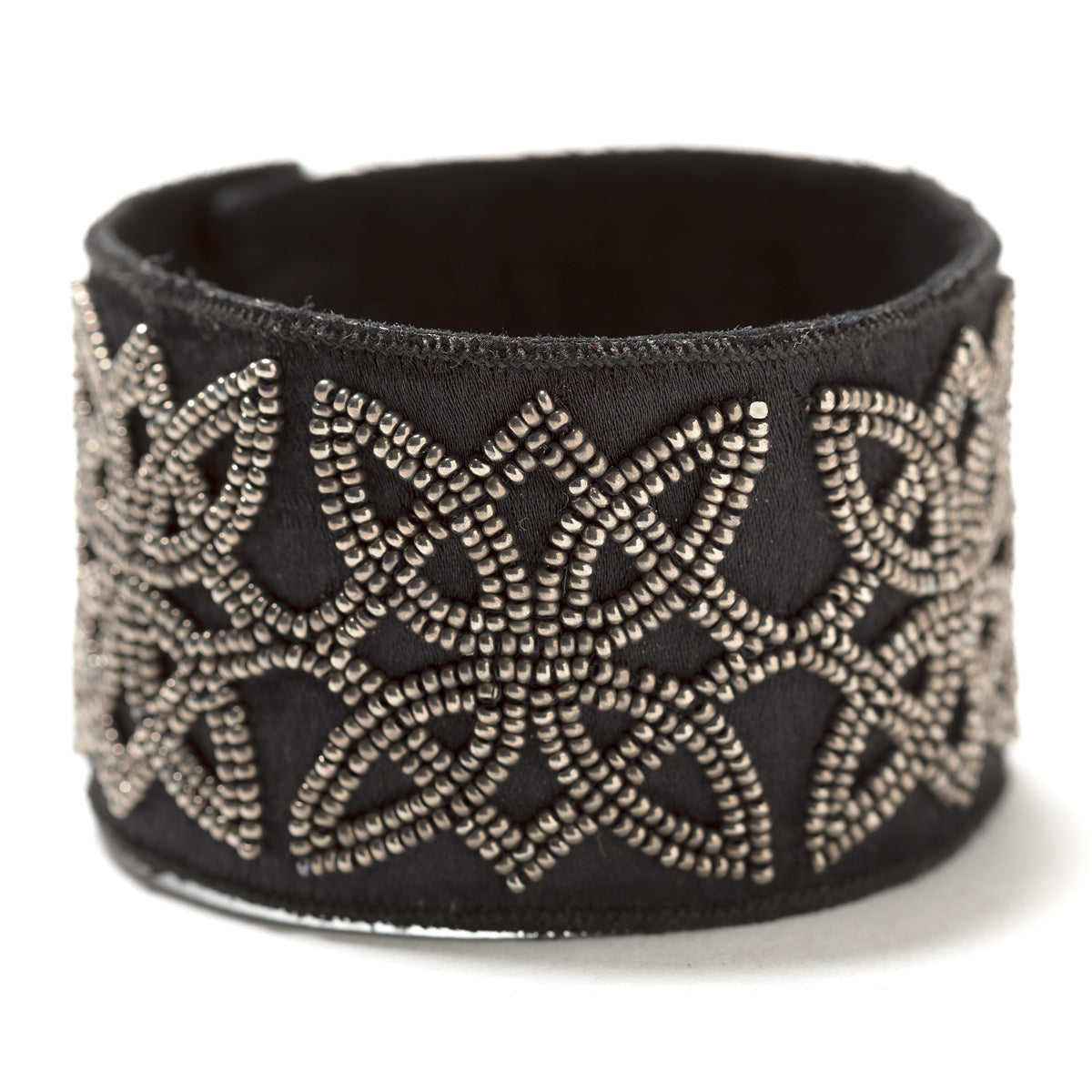 Lori Weitzner Ariadne Bracelet in Charcoal with Beading, Suede, Magnetic Closures