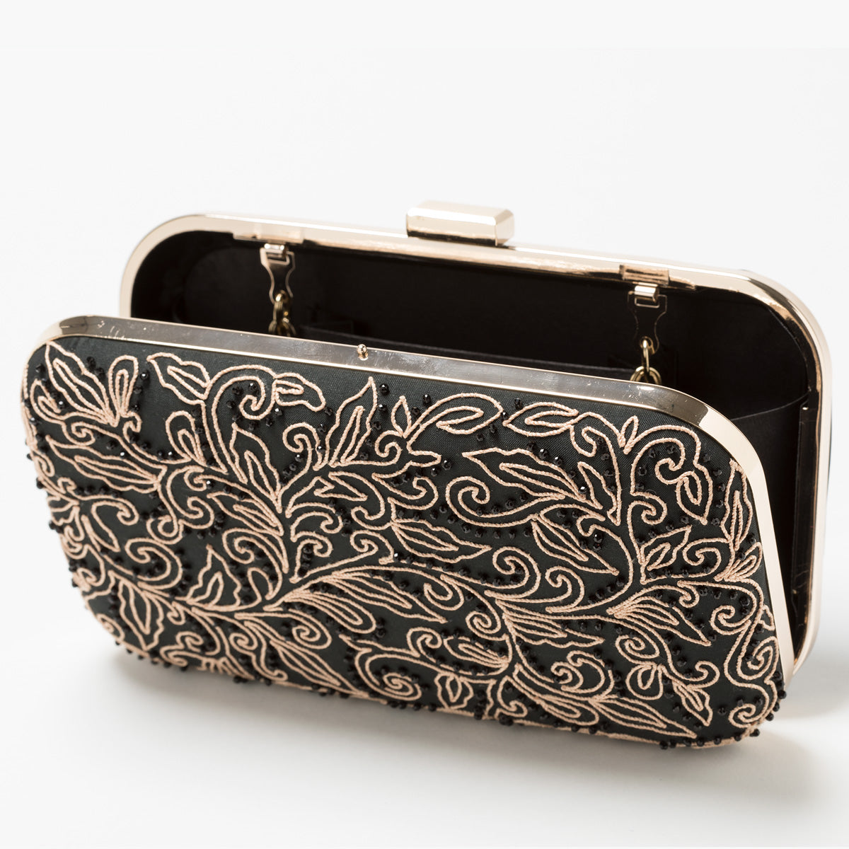 Lori Weitzner Athena Clutch, Bag with Embroidery, Beading, and hidden Chain