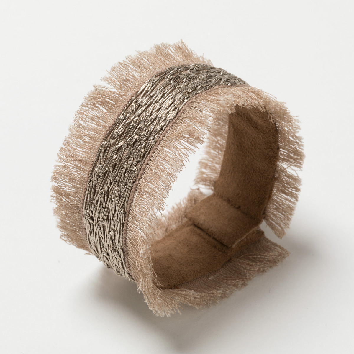 Lori Weitzner Brigantia Fringe Bracelet, Embroidery, Suede Backing, Magnetic Closure