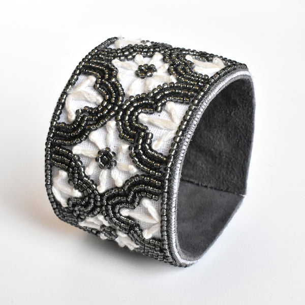 Lori Weitzner Dalia Bracelet with Beading, Embroidery, Suede Backing
