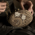 Lori Weitzner Gaia Clutch, Oval Bag with embroidery and hidden chain
