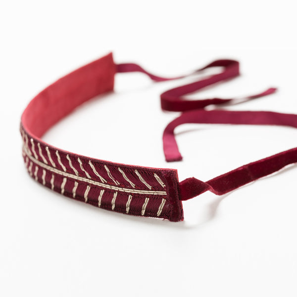 Lori Weitzner Medeina embroidered headband in Ruby
